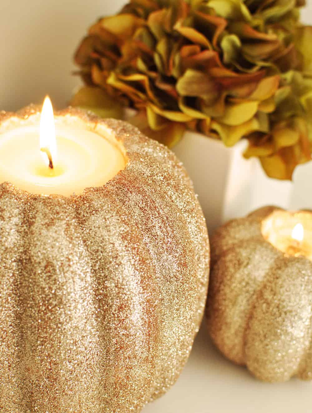 DIY pumpkin candle holder