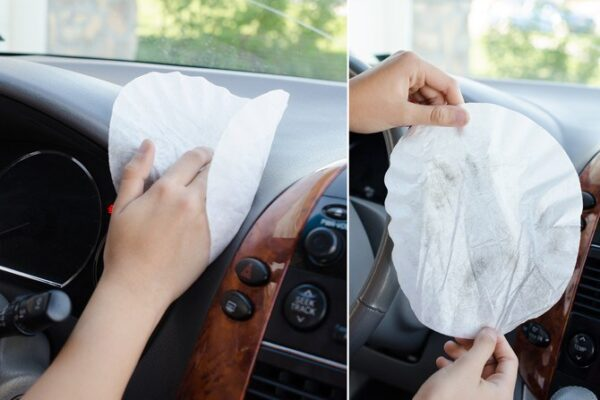 car cleaning interior using coffee liners