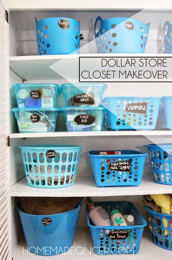 an organized closet using dollar store items