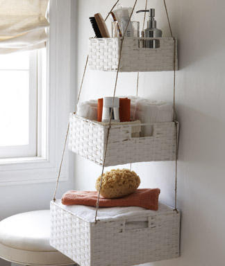 Organizing hack baskets in bathroom