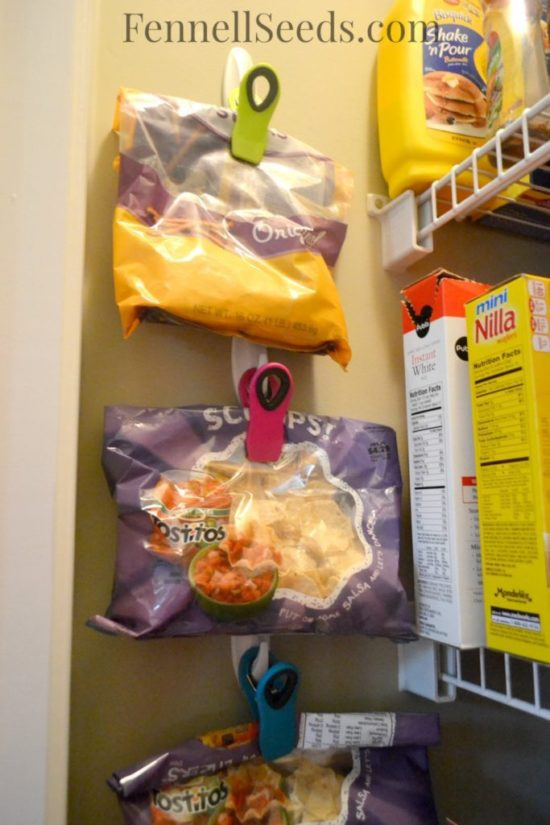 Pantry organization hang the chips bags