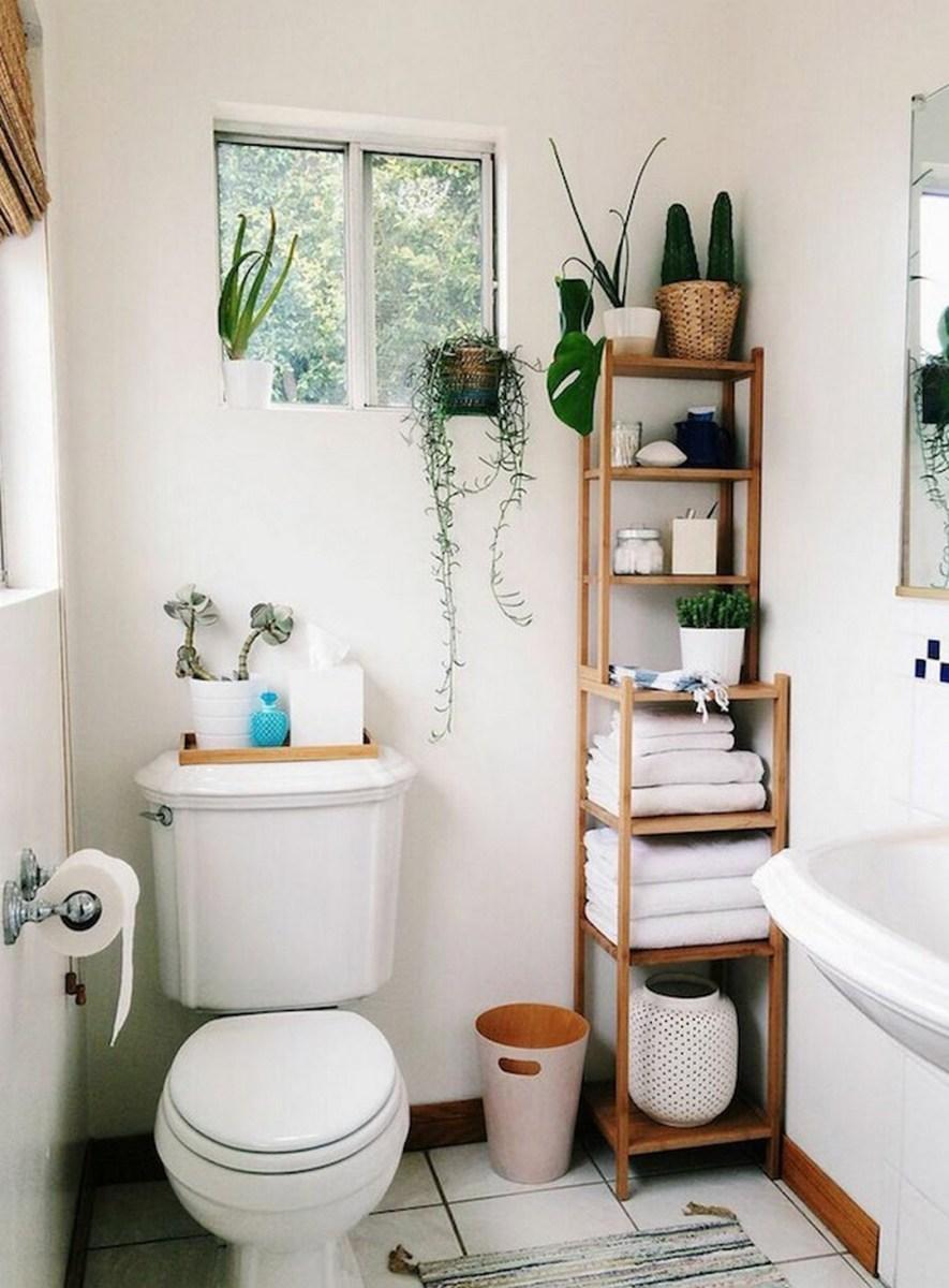Small bathroom organization ideas- ladder storage for organization