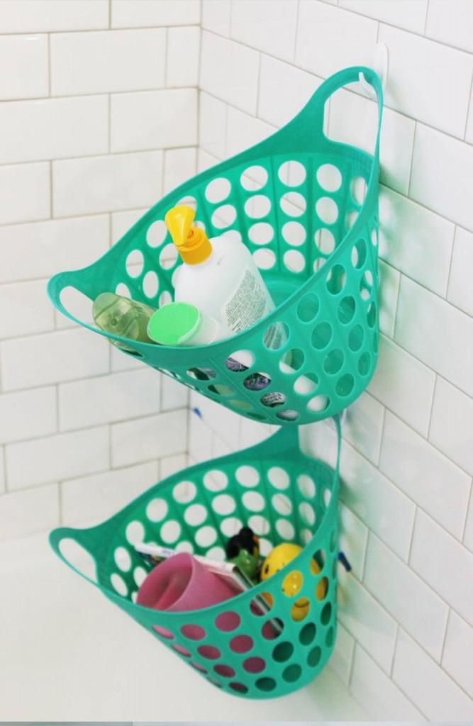 Bathroom organization ideas- plastic basket organization idea