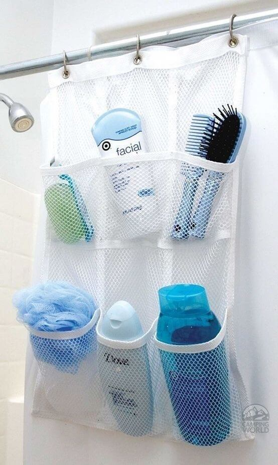 Bathroom organization ideas -shoe holder used to organize bathroom products