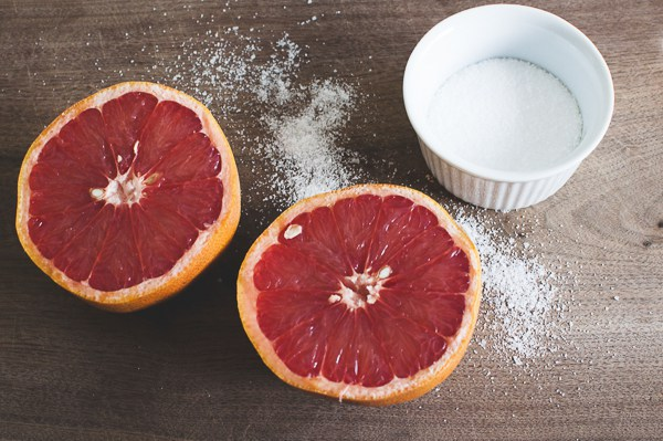 Cleaning tips -grapefruit and salt to get rid of soap scum
