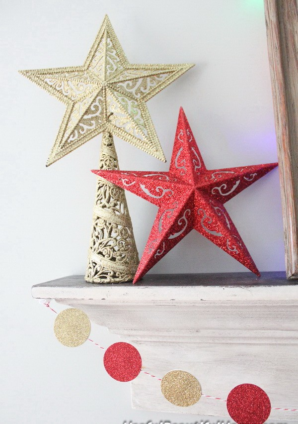 Dollar store christmas decor ideas - glittering stars