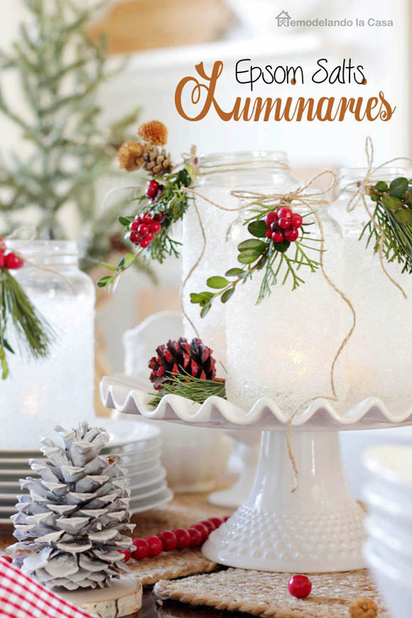 Dollar store christmas decor - Epsom salt luminaries