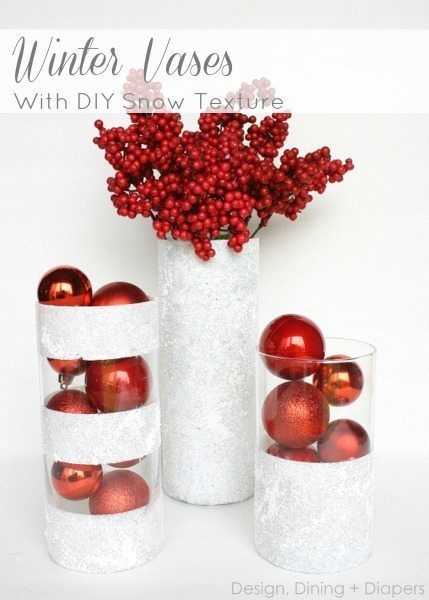 DIY Dollar store christmas decoration ideas - winter vases