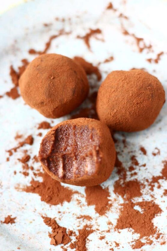 Truffles coated in cocoa powder