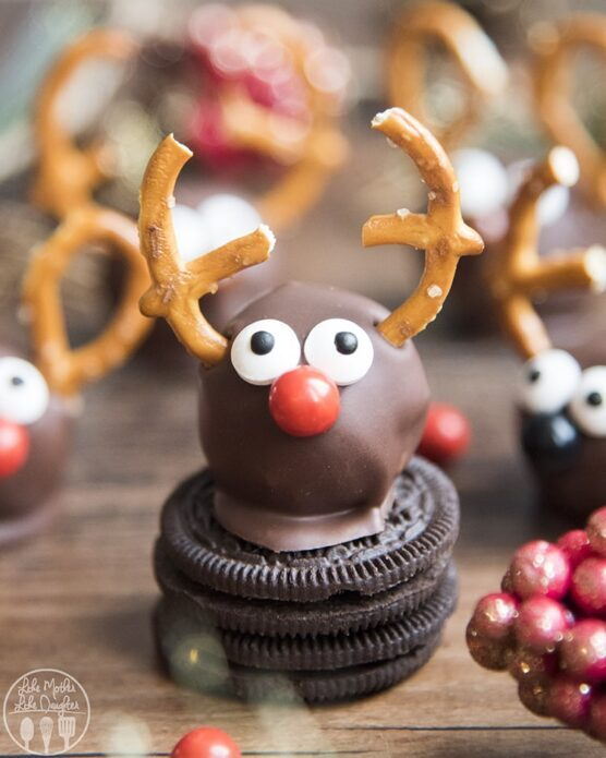 Chocolate-coated Oreo truffles made to look like Reindeer