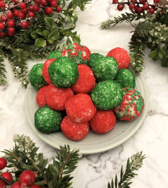 Moscato truffles coated in red and green sanding sugar