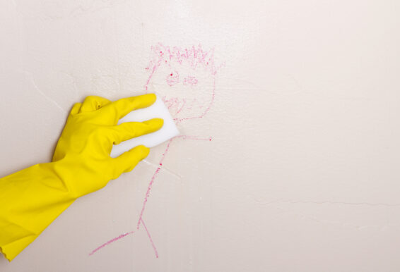 Use rubbing alcohol to wipe away crayon marks on walls