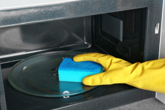Put sponge inside microwave to clean it