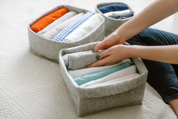 Use same colored baskets for organization