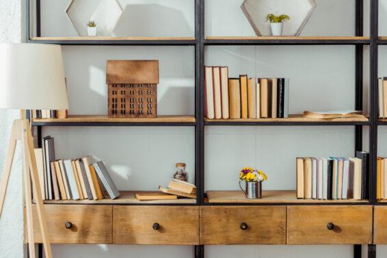 Open shelves in living room