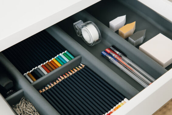Organized drawer with office supplies