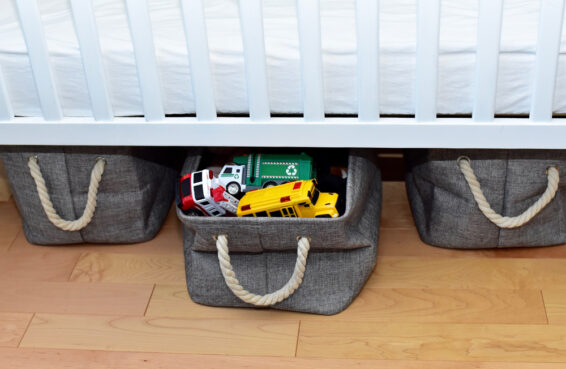 Use tubs or baskets to store toys